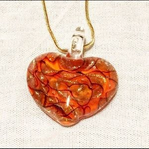 Jewelry - Murano Glass Heart Necklace, red black gold